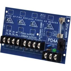 Módulo de distribución de energía, 4 salidas PTC hasta 28 VCA / VCC, placa