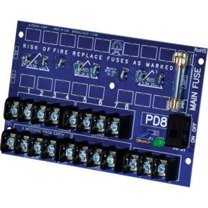Módulo de distribución de energía, 8 salidas PTC hasta 28 VCA / VCC, placa